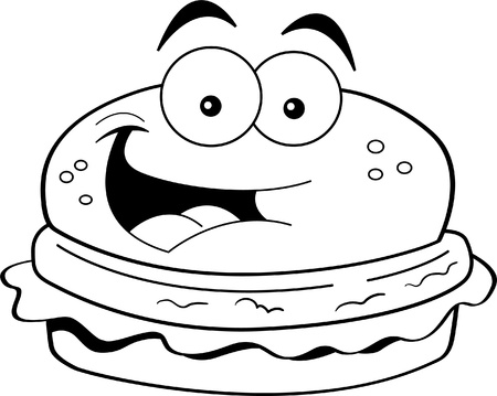 Black and white illustration of a smiling hamburger