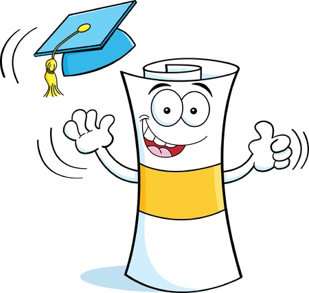 Cartoon illustration of a diploma tossing a graduation cap into the air  Vector