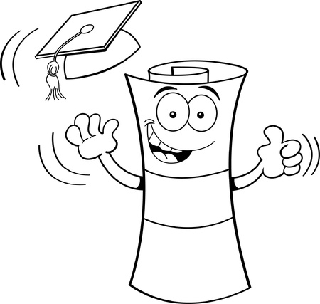 tossing: Black and white illustration of a diploma tossing a graduation cap into the air