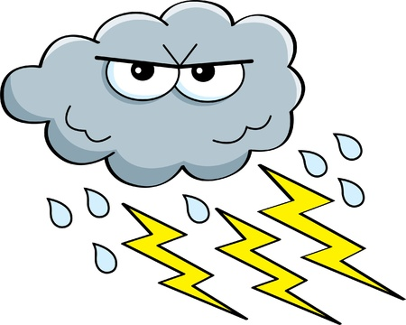 Cartoon illustration of a storm cloud with rain and lightning  Vector