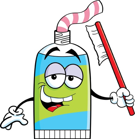 Cartoon illustration of a tube of toothpaste holding a toothbrush