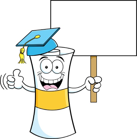 Cartoon illustration of a diploma holding a sign