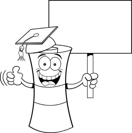 mortar board: Black and white illustration of a diploma holding a sign