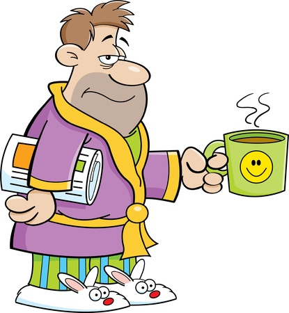 pyjamas: Cartoon illustration of a grouchy man in his bathrobe and holding a coffee cup