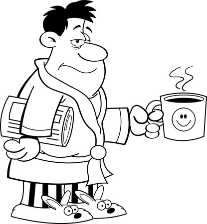Black and white illustration of a grouchy man in his bathrobe and holding a coffee cup  Иллюстрация