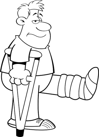 grinning: Black and white illustration of a man on crutches with his leg in a cast  Illustration