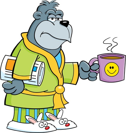 Cartoon illustration of a grouchy gorilla in his bathrobe and holding a coffee cup