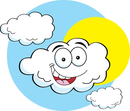 partly: Cartoon illustration of a happy cloud