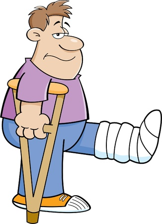 Cartoon illustration of a man on crutches with his leg in a cast  Ilustracja