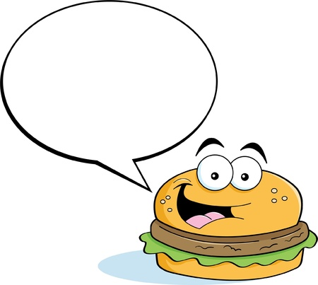caption: Cartoon illustration of a hamburger with a caption balloon