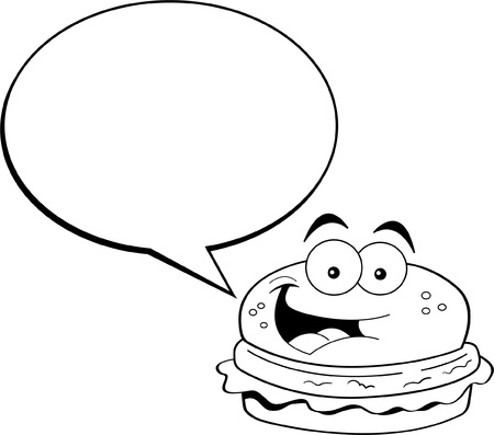 Black and white illustration of a hamburger with a caption balloon  Illusztráció