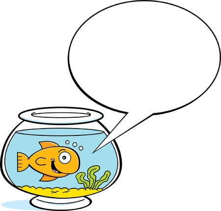 caption: Cartoon illustration of a goldfish in a fishbowl with a caption balloon  Illustration
