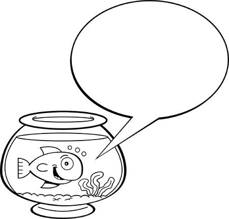 캡션 풍선과 함께 물고기 그릇에 금붕어의 흑백 그림 일러스트