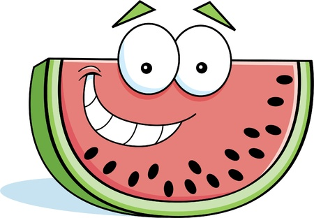 Cartoon illustration of a smiling slice of watermelon.