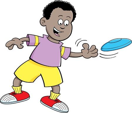 Cartoon illustratie van een jongen het gooien van een vliegende schotel