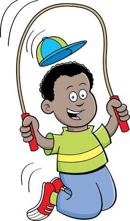 jump rope: Cartoon illustration of a boy jumping rope