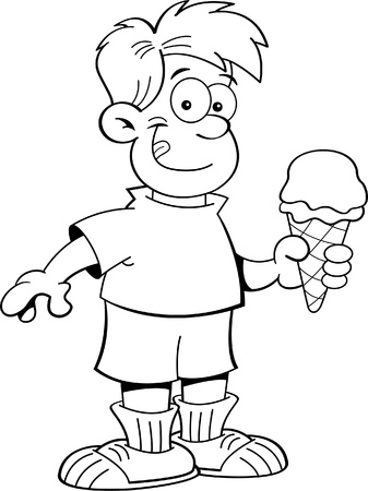 Black and white illustration of a boy eating an ice cream cone  Vector