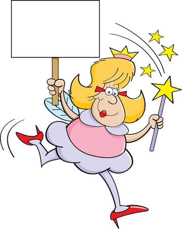 Cartoon illustration of a fairy godmother holding a magic wand and a sign