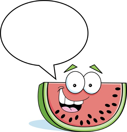 Cartoon illustration of a watermelon with a caption balloon