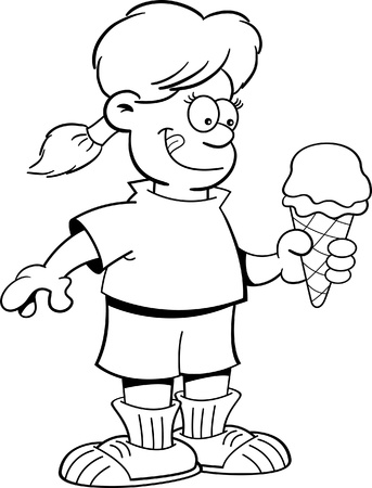 black and white cone: Black and white illustration of a girl eating an ice cream cone