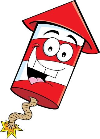Cartoon illustration of a smiling firecracker