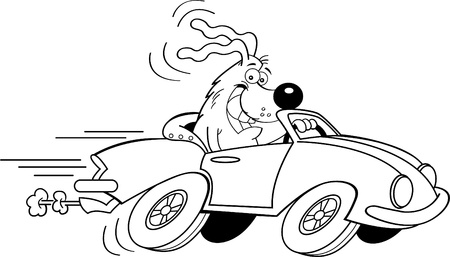 Black and white illustration of a dog driving a car