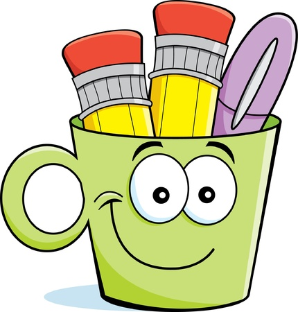 Cartoon illustration of a cup filled with pencils and a pen  Ilustração