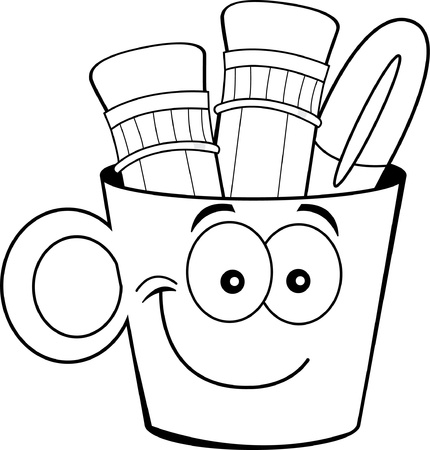pencil holder: Black and white illustration of a cup filled with pencils and a pen  Illustration