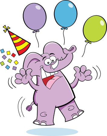 Cartoon illustration of an elephant jumping with a party hat and balloons Illusztráció