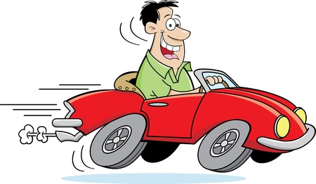 speeding car: Cartoon illustration of a man driving a car