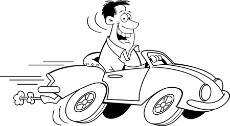 speeding car: Black and white illustration of a man driving a car  Illustration