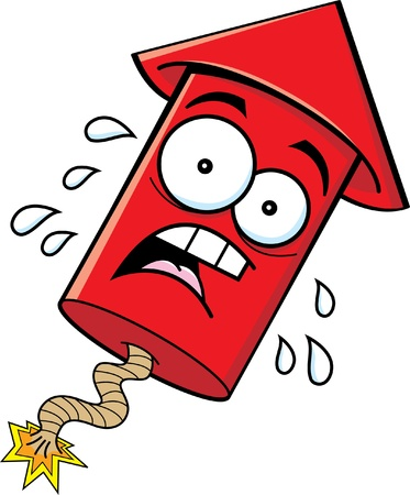 anxious: Cartoon illustration of a worried firecracker