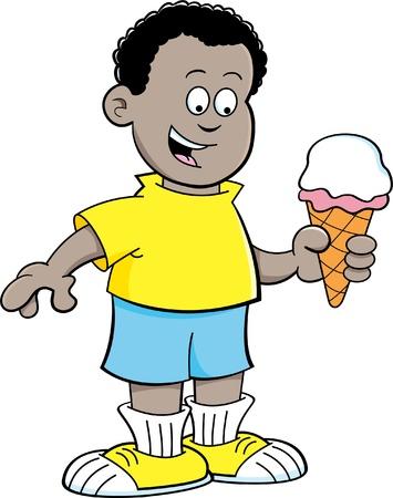 frozen treat: Cartoon illustration of an African boy eating an ice cream cone  Illustration