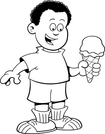 frozen treat: Black and white illustration of an African boy eating an ice cream cone