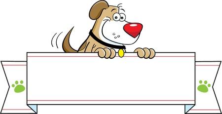 Cartoon illustration of a dog holding a banner  矢量图像