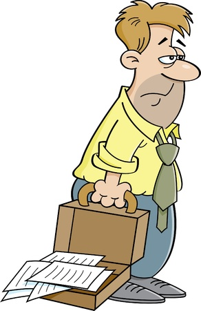 Cartoon illustration of an tired man with an open briefcase