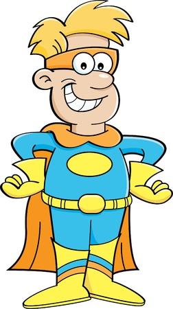 Cartoon illustratie van een jongen die een superheld kostuum Stock Illustratie