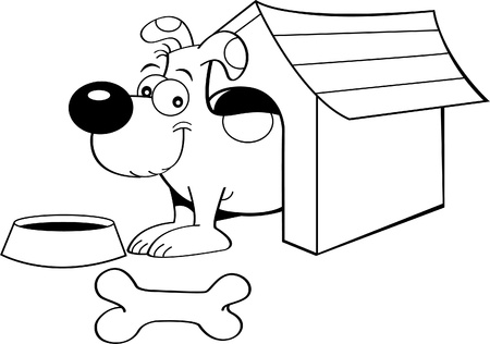 Black and white illustration of a dog in a doghouse