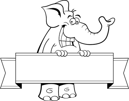 grinning: Cartoon illustration of an elephant holding a banner