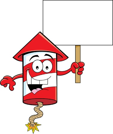 Cartoon illustration of a firecracker holding a sign Stock Vector - 19610795