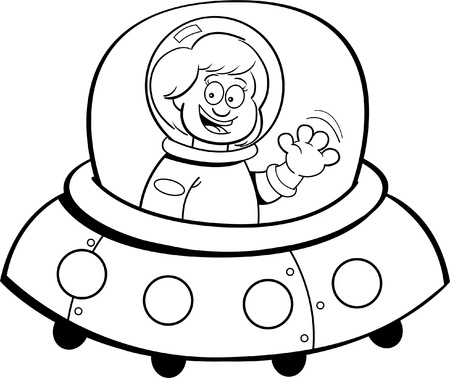 Black and white illustration of a girl in a spaceship