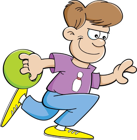 Cartoon illustration of a boy throwing a bowling ball Vectores