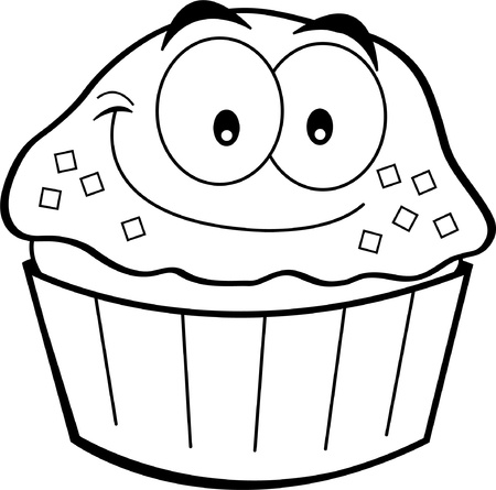 Black and white illustration of a cupcake smiling