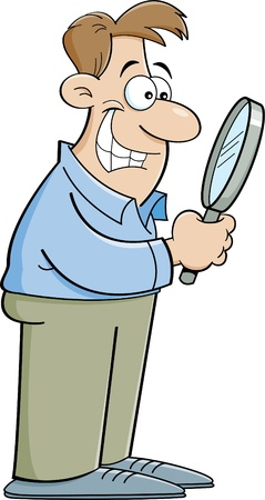 Cartoon illustrazione di un uomo guardando attraverso una lente di ingrandimento Archivio Fotografico - 19610439
