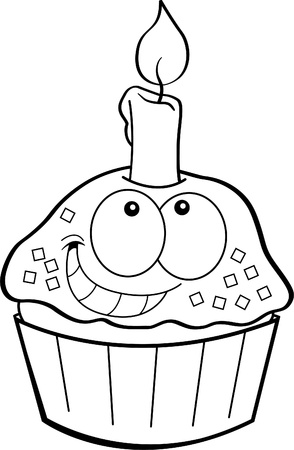 Black and white illustration of a cupcake with a candle