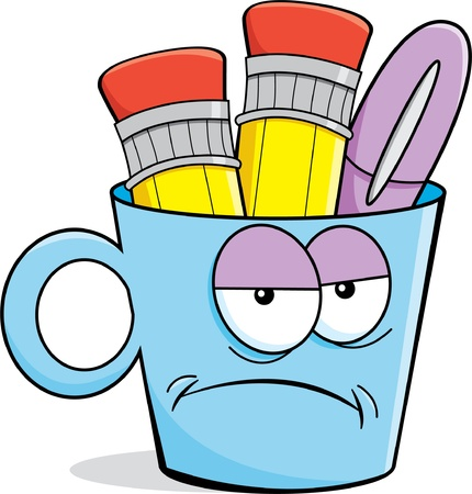 Cartoon illustration of a unhappy cup holding pencils and a pen  Ilustração