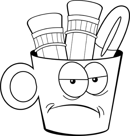 Black and white illustration of a unhappy cup holding pencils and a pen  Illustration