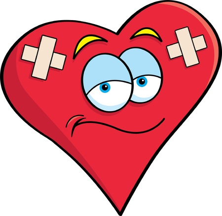 bandage: Cartoon illustration of a heart with bandages