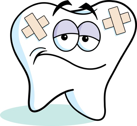 scowl: Cartoon illustration of a tooth with bandages
