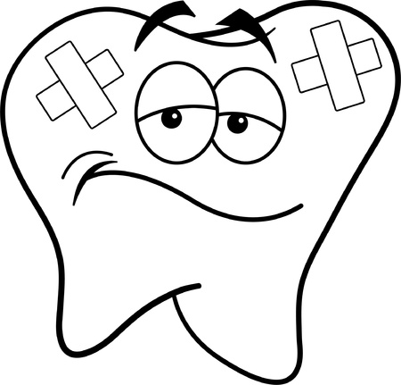 scowl: Black and white illustration of a tooth with bandages  Illustration